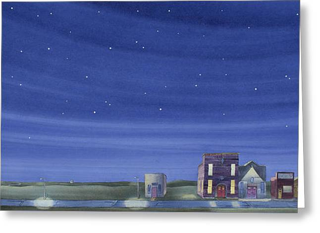 Greeting Card featuring the painting The Sweetest Little Town In The Prairie II by Scott Kirby