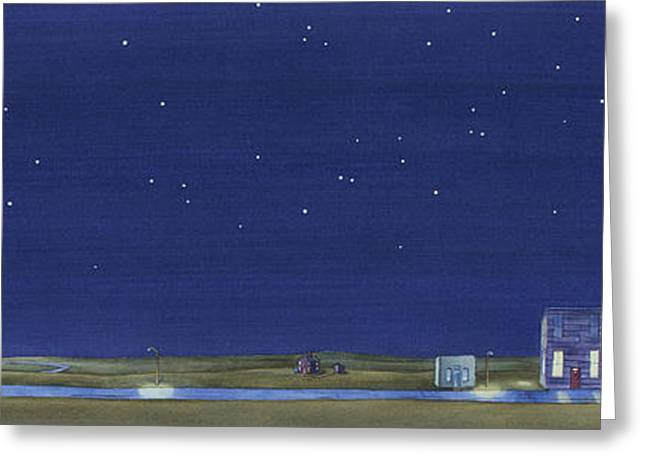 Greeting Card featuring the painting The Sweetest Little Town In The Prairie by Scott Kirby