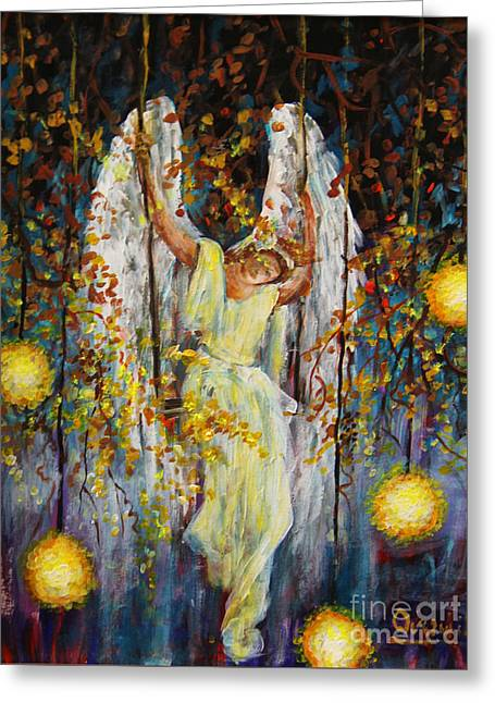 The Swinging Angel Greeting Card