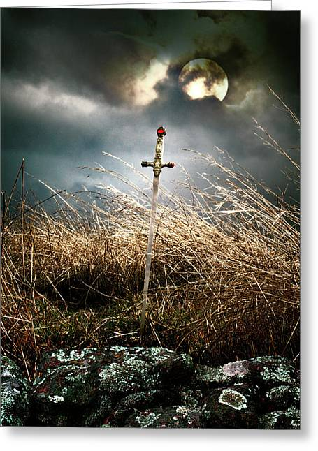 Sword Under A Full Moon Greeting Card