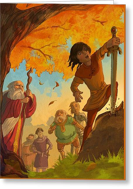 The Sword In The Stone Greeting Card by Andy Catling