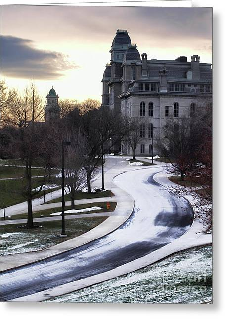 The Syracuse University Hall Of Languages Greeting Card by Debra Millet