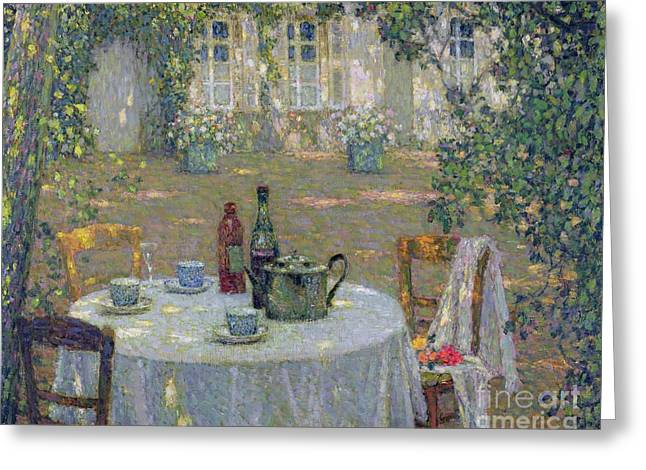 Cloth Greeting Cards - The Table in the Sun in the Garden Greeting Card by Henri Le Sidaner