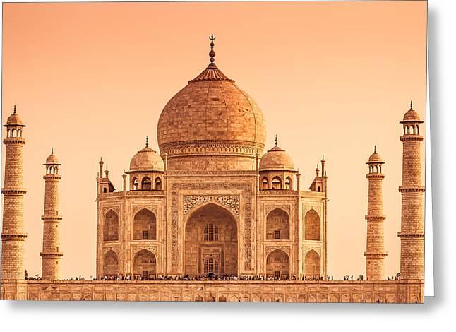 The Taj Mahal Of India In Warm Tones Greeting Card by Nila Newsom