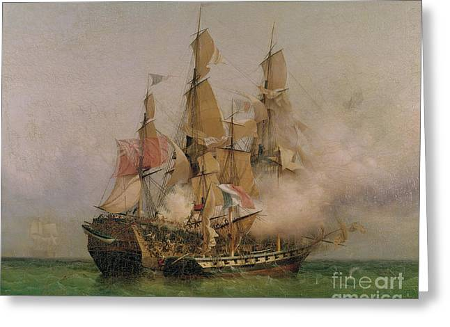 Boat Greeting Cards - The Taking of the Kent Greeting Card by Ambroise Louis Garneray
