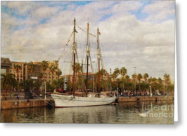The Tall Ship - Barcelona Greeting Card by Mary Machare