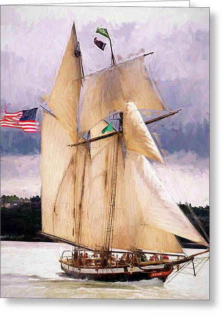 The Tall Ship The Lynx, Fine Art Print Greeting Card by Greg Sigrist
