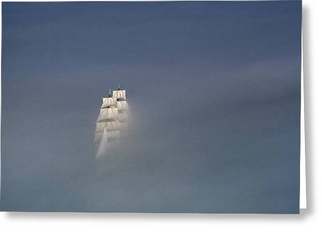 The Tall Ship Uscg Eagle Sails In A Sea Greeting Card by James P Blair