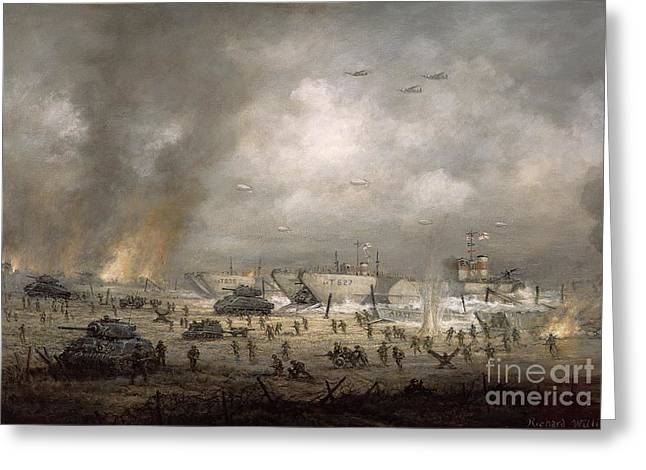 Landing Paintings Greeting Cards - The Tanks Go In - Sword Beach  Greeting Card by Richard Willis