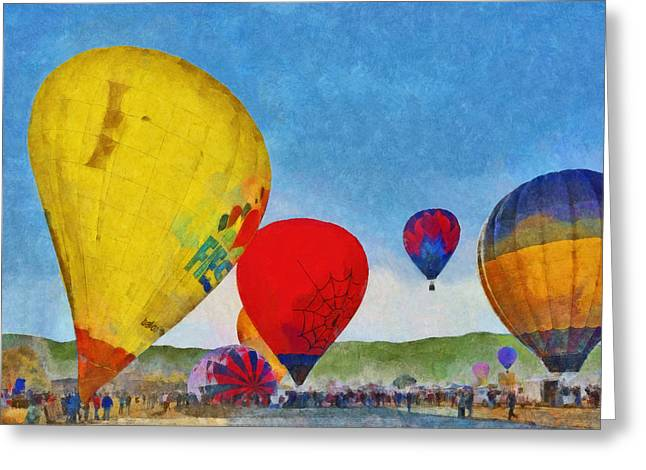 Greeting Card featuring the digital art The Taos Mountain Balloon Rally 6 by Digital Photographic Arts
