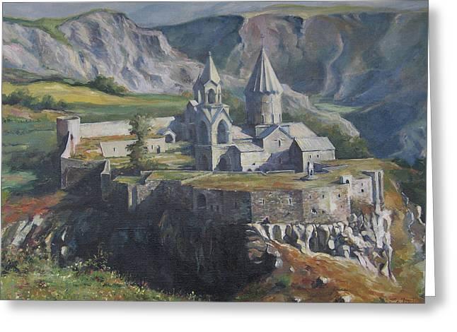 Mountain Road Greeting Cards - The Tatev Monastery Greeting Card by Tigran Ghulyan