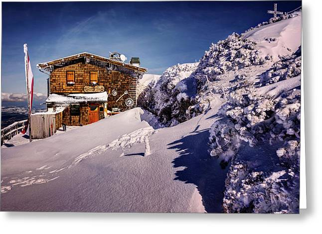The Tavern On Untersberg Mountain Salzburg In Winter Greeting Card by Carol Japp