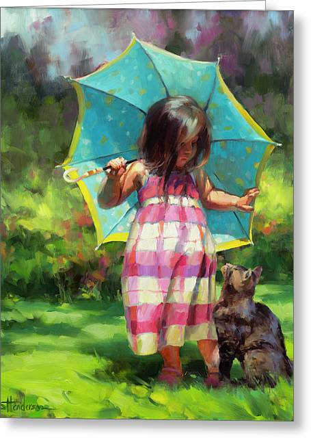 The Teal Umbrella Greeting Card