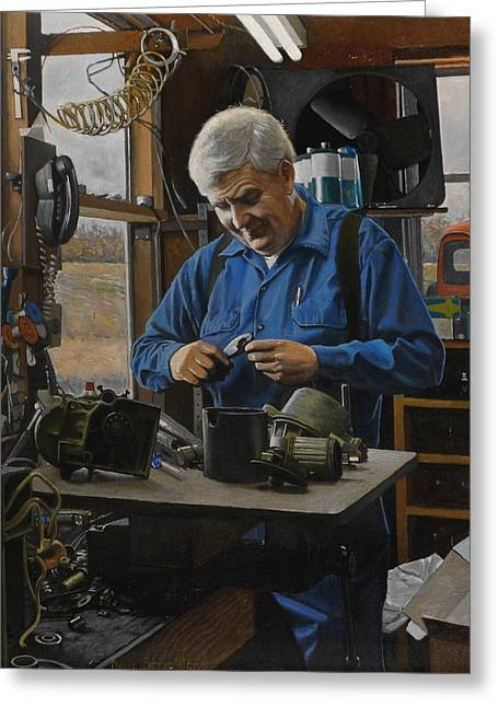 Technical Paintings Greeting Cards - The Technician Greeting Card by Doug Strickland