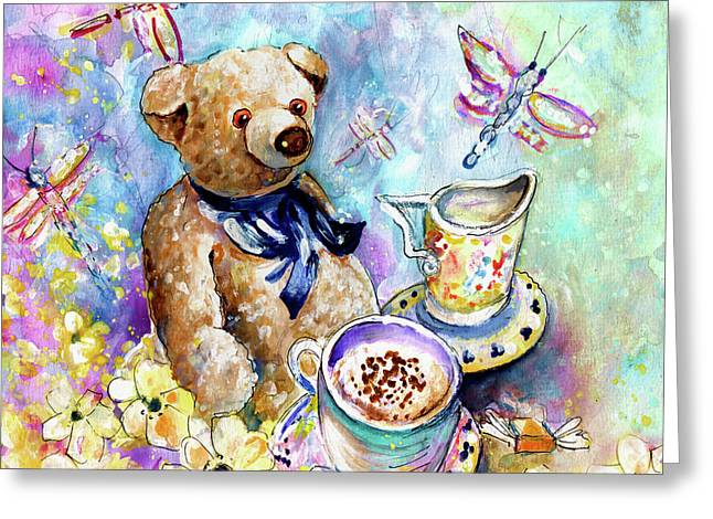 The Teddy Bear And The Dragon Flies From York Greeting Card