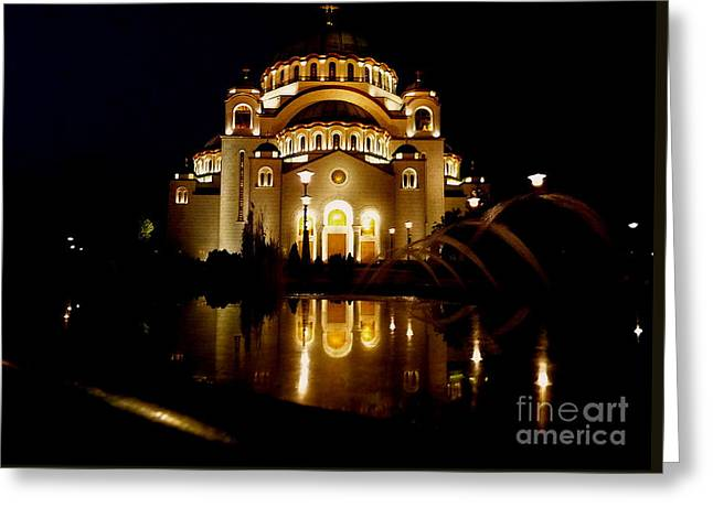 Greeting Card featuring the photograph The Temple Of Saint Sava In Belgrade  by Danica Radman
