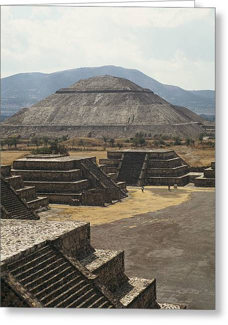 The Temple Of The Sun At Teotihuacan Greeting Card by Martin Gray