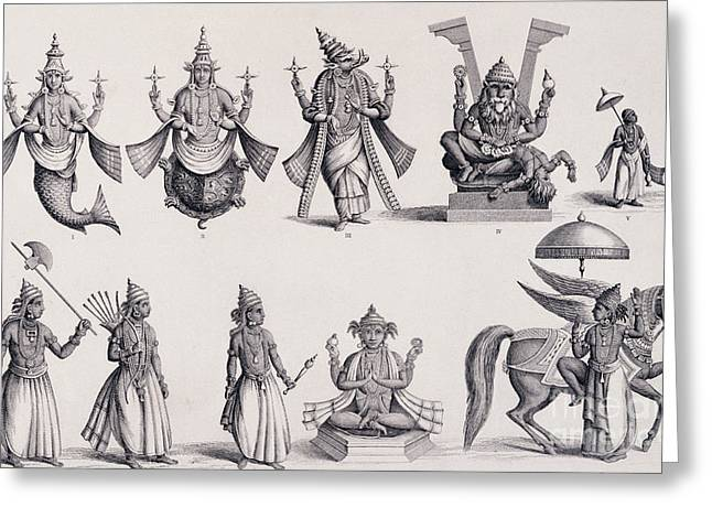 The Ten Avatars Or Incarnations Of Vishnu Greeting Card by English School