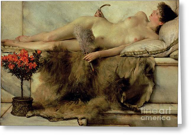 Figures Paintings Greeting Cards - The Tepidarium Greeting Card by Sir Lawrence Alma-Tadema