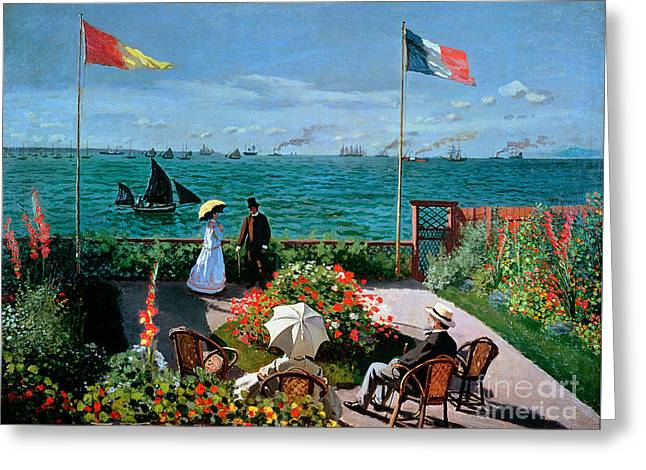 The Terrace At Sainte Adresse Greeting Card by Claude Monet