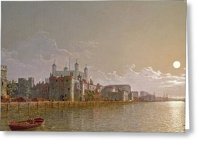 The Thames By Moonlight With Traitors' Gate And The Tower Of London Greeting Card by Henry Pether