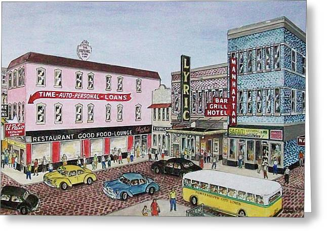 The Theater District Portsmouth Ohio 1948 Greeting Card by Frank Hunter