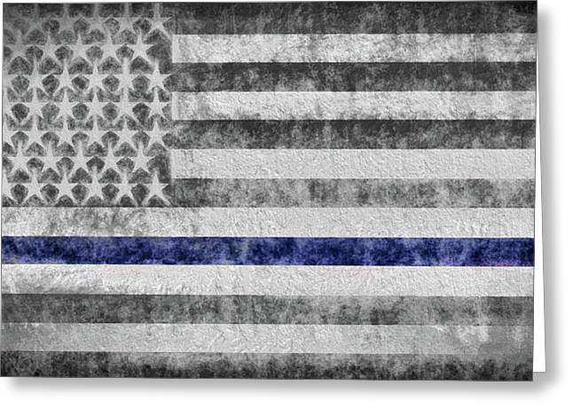 Greeting Card featuring the digital art The Thin Blue Line American Flag by JC Findley
