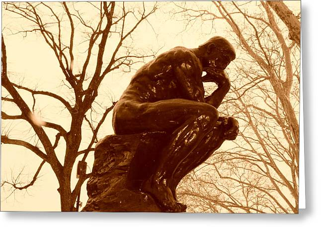 Center City Greeting Cards - The Thinker Greeting Card by Bill Cannon