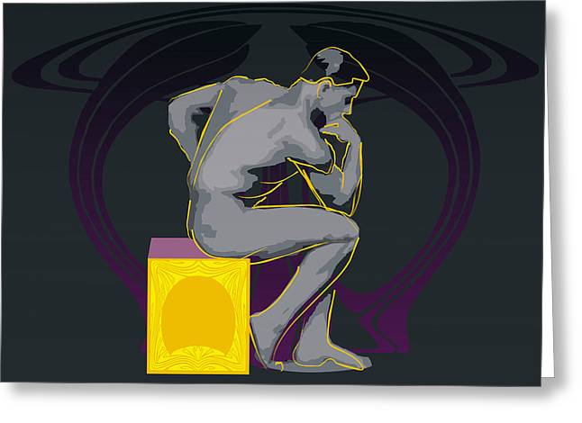 Decent Greeting Cards - The Thinker - El pensador Greeting Card by Joaquin Abella