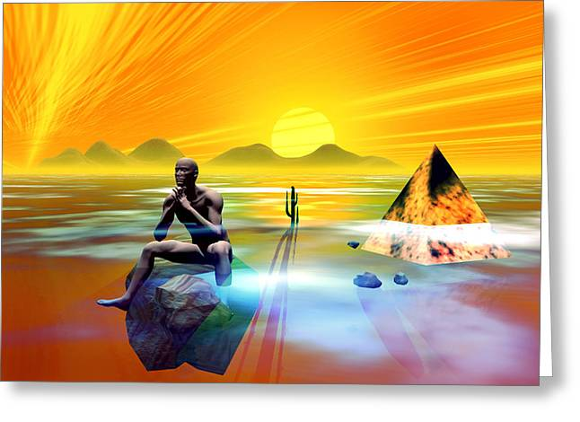 Greeting Card featuring the digital art The Thinker by Shadowlea Is