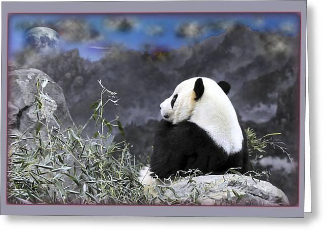 The Thinker Tai Shan In Repose Giant Panda  Greeting Card by Jonathan Whichard