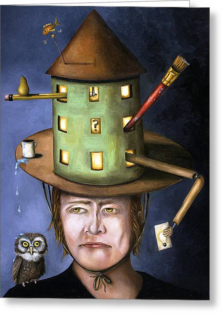 Artists Model Greeting Cards - The Thinking Cap Greeting Card by Leah Saulnier The Painting Maniac