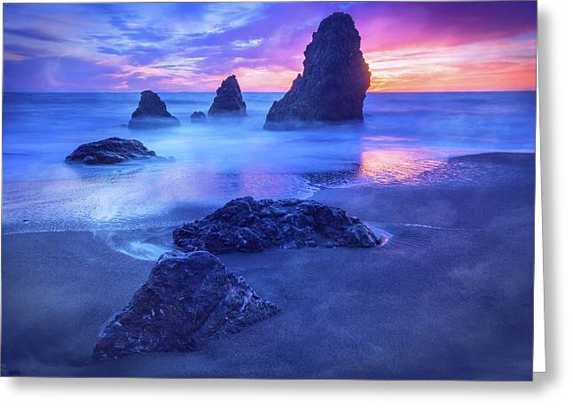The Three  Amigos - Rodeo Beach Sunset #3 Greeting Card by Jennifer Rondinelli Reilly - Fine Art Photography