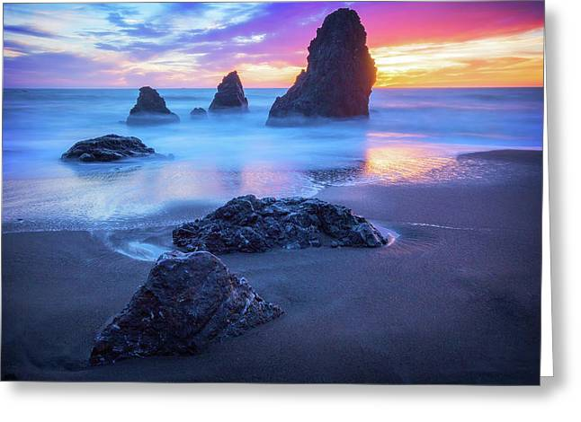 The Three  Amigos - Rodeo Beach Sunset #4 Greeting Card by Jennifer Rondinelli Reilly - Fine Art Photography