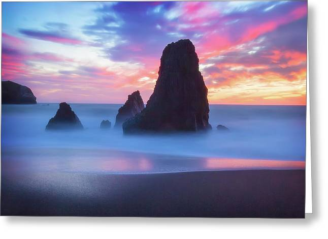 The Three  Amigos - Rodeo Beach Sunset #5 Greeting Card by Jennifer Rondinelli Reilly - Fine Art Photography