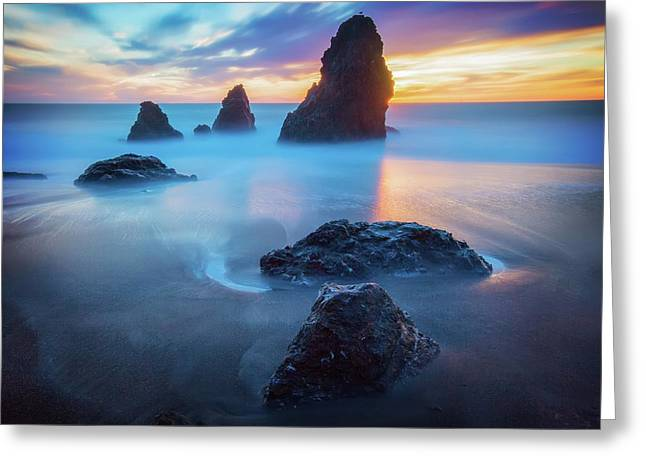 The Three  Amigos - Rodeo Beach Sunset Greeting Card by Jennifer Rondinelli Reilly - Fine Art Photography