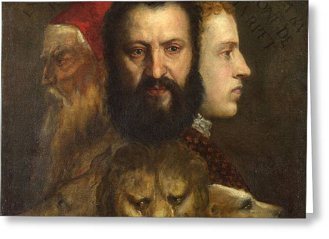 The Three Heads Allude To The Three Ages Of Man, Youth, Maturity And Old Age Greeting Card by Celestial Images