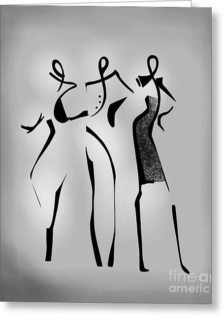 The Three Models Greeting Card by Gabriela Tasiro