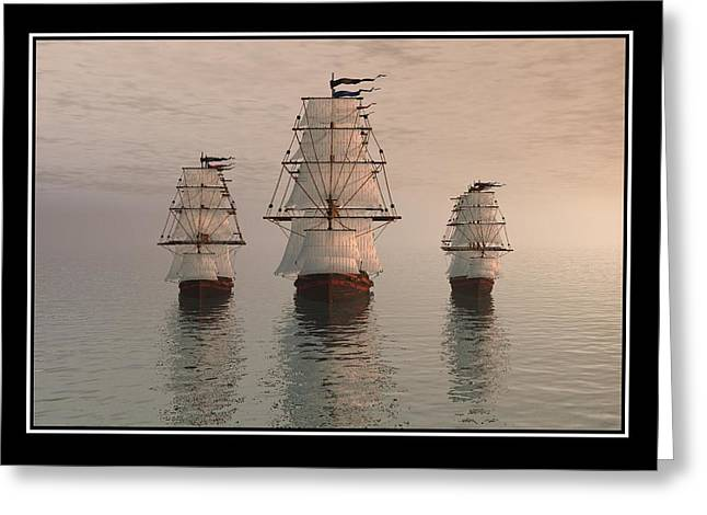 Best Sellers -  - Storm Prints Digital Art Greeting Cards - The Three Ships Greeting Card by William  Ballester