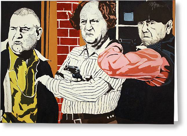 Greeting Card featuring the painting The Three Stooges by Thomas Blood