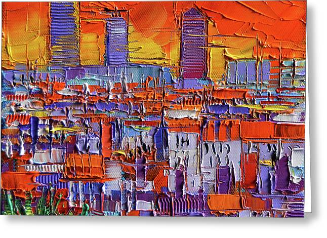 The Three Towers - Lyon Orange View By Mona Edulesco Greeting Card by Mona Edulesco