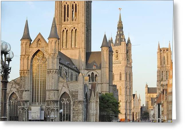 The Three Towers Of Gent Greeting Card