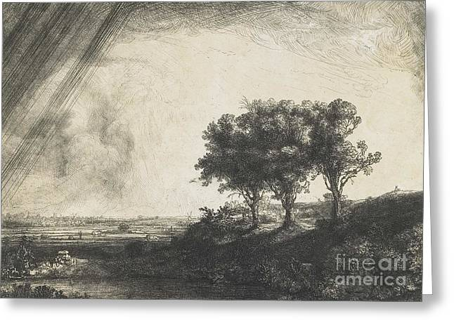 The Three Trees Greeting Card by Rembrandt