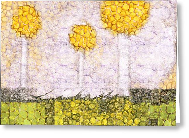 The Three Trees - Y2201b Greeting Card by Variance Collections