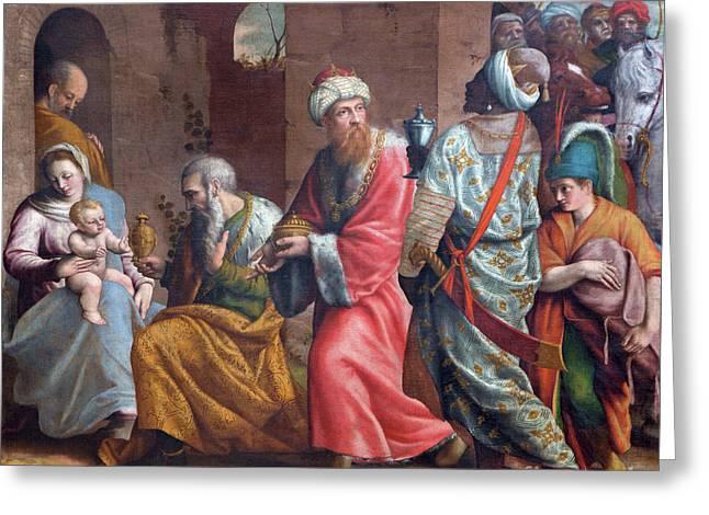 The Threee Magi Painting In Church Chiesa Del Santissimo Corpo Di Cristo Greeting Card by Jozef Sedmak