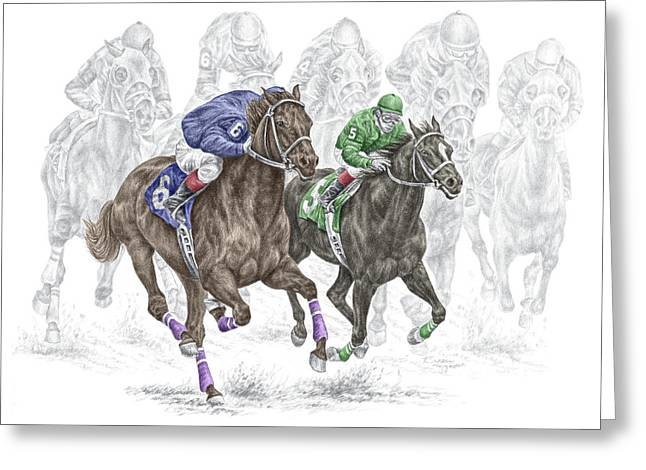 The Thunder Of Hooves - Horse Racing Print Color Greeting Card