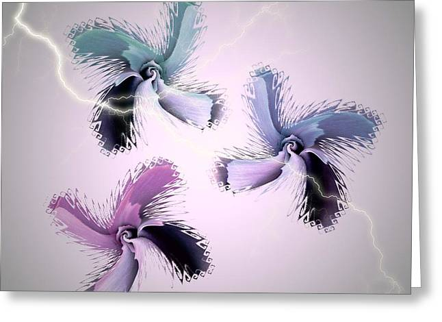 The Thunderbolt Dance Of Rose Butterflies - 2 Greeting Card by Jacqueline Migell