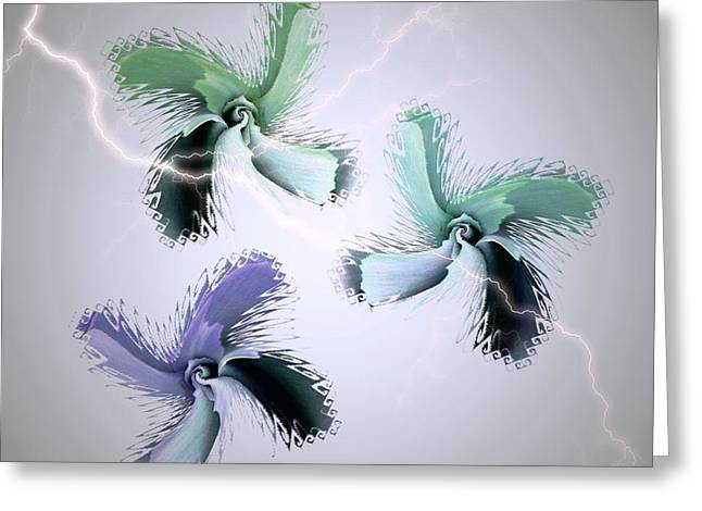 The Thunderbolt Dance Of Rose Butterflies - 5 Greeting Card by Jacqueline Migell