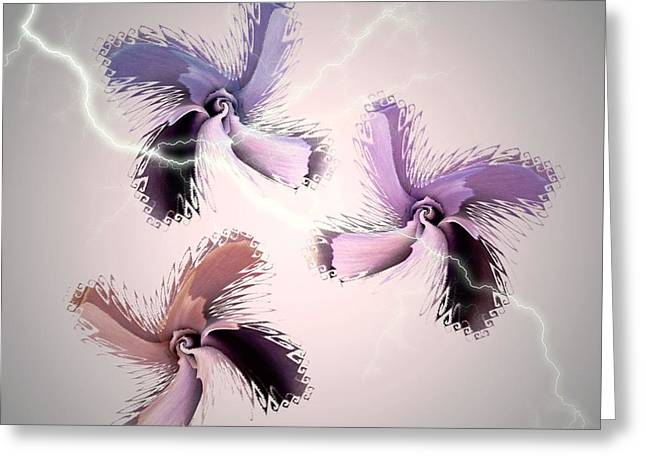 The Thunderbolt Dance Of Rose Butterflies - 6  Greeting Card by Jacqueline Migell