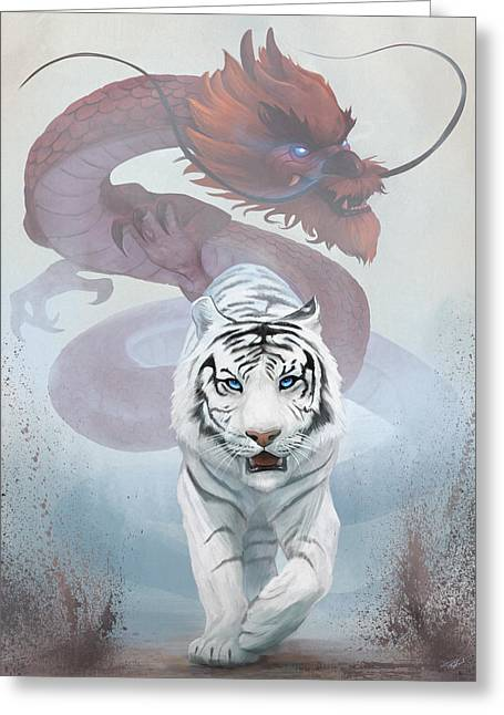 Greeting Card featuring the digital art The Tiger And The Dragon by Steve Goad